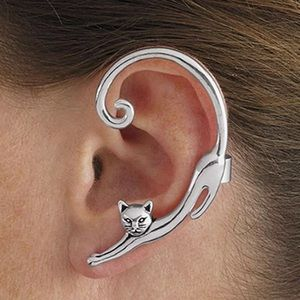 🎉 New Silver Plated slinking cat cuff earring
